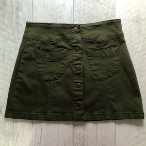 "Military Green ""Denim"" Skirt"